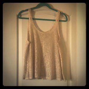 Cream sheer tank top with gold pattern